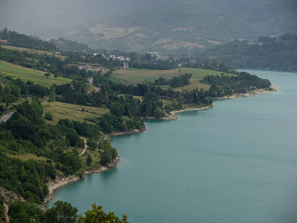 Aerial photo of Vico's lake, Italy, Lazio stock photo