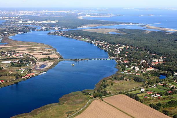 Aerial photo of Vistula river.Gdańsk stock photo