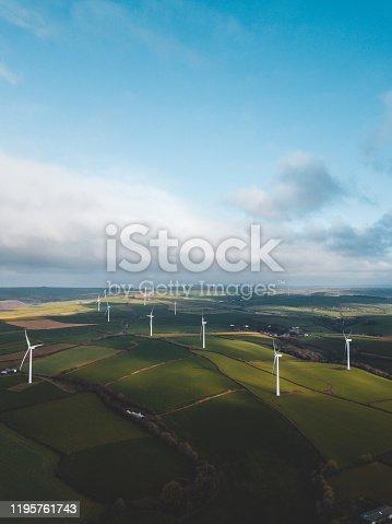 istock Aerial photo of Wind turbines 1195761743