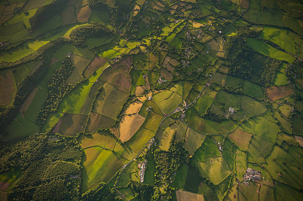 Aerial photo over idyllic country farms villages green patchwork landscape Vibrant green crops, ploughed fields and pasture, hedgerows and woodland surrounding farms and villages in an idyllic rural patchwork quilt landscape from high above. ProPhoto RGB profile for maximum color fidelity and gamut. south wales stock pictures, royalty-free photos & images