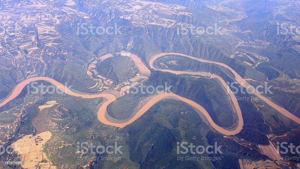 Aerial photo- the Yellow River in China stock photo