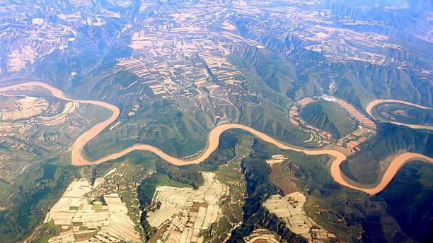 Aerial photo- des Gelben Flusses in China – Foto