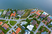 Aerial photo waterfront residential homes