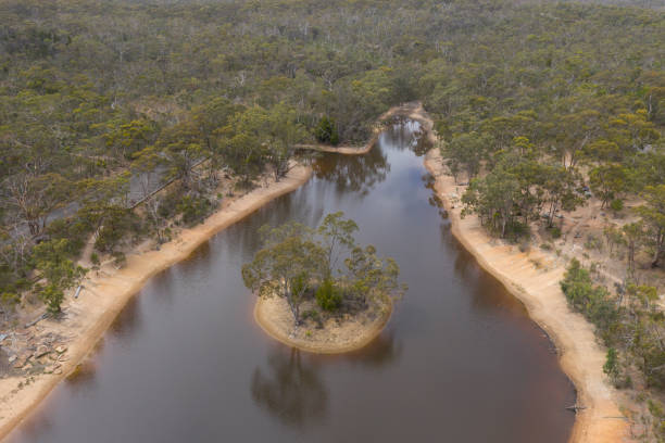 Aerial photograph of a drought affected reservoir and landscape in rural Australia stock photo