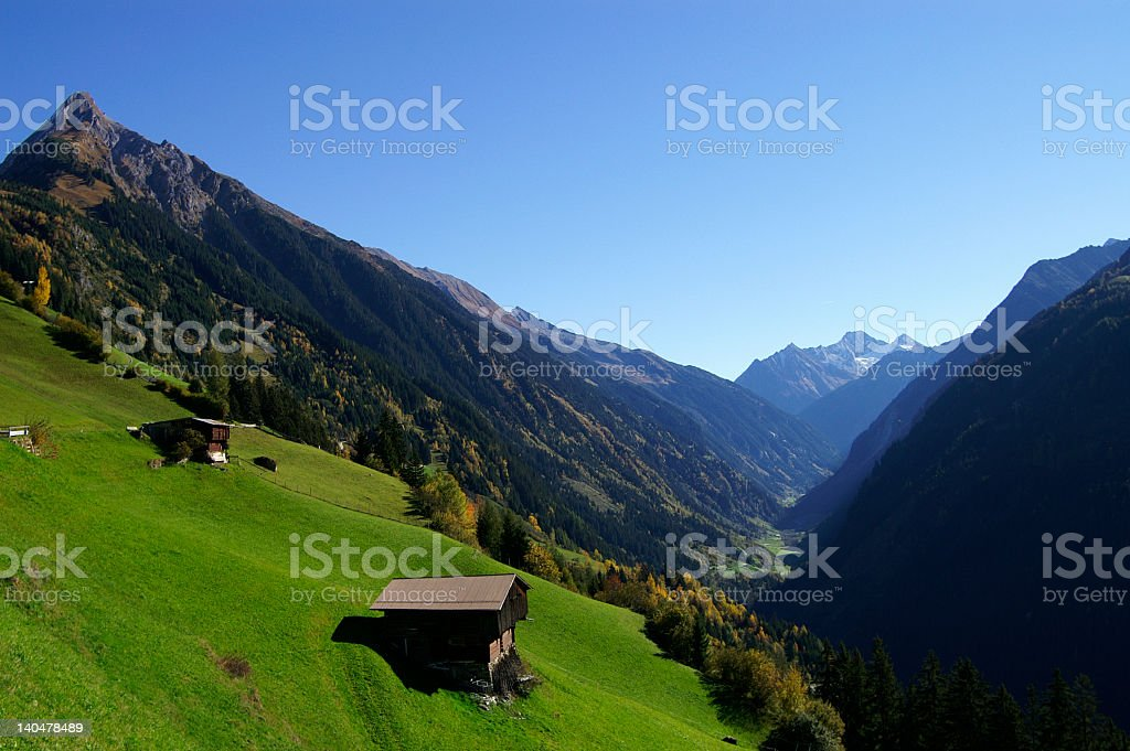 Aerial photograph of a farm in Zillergrund stock photo