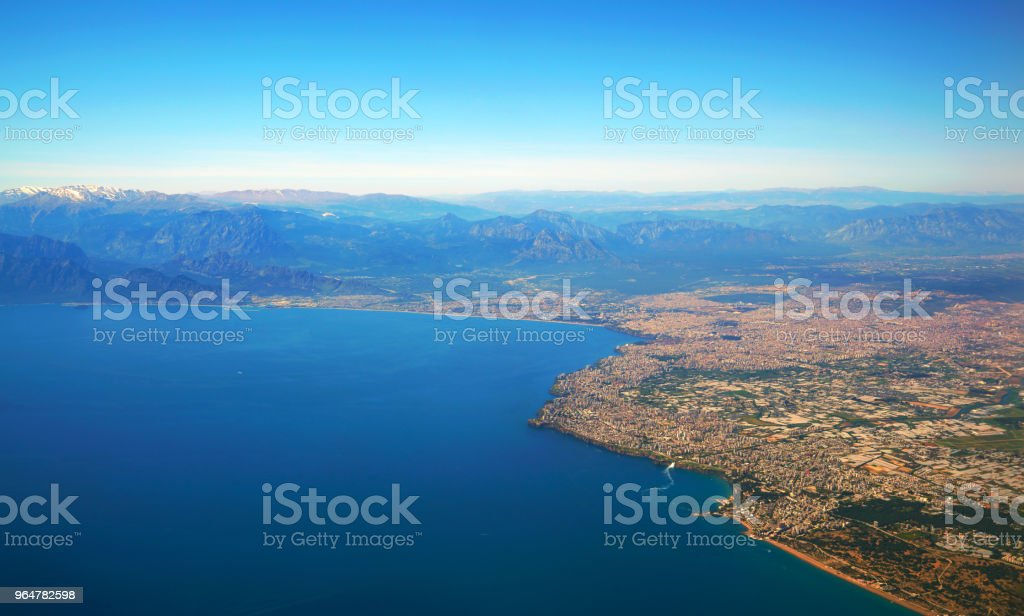 Aerial photograph of Antalya bay in Turkey royalty-free stock photo