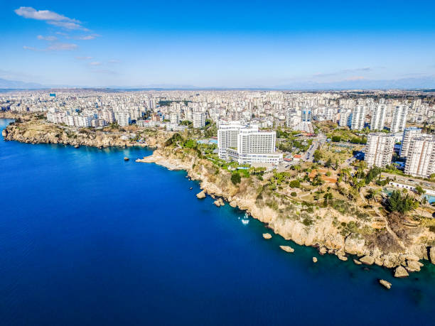 Aerial photograph of Antalya bay in Turkey, Taken by Drone stock photo