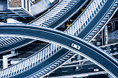 Multi-level crossing.\nViewpoint from directly above.