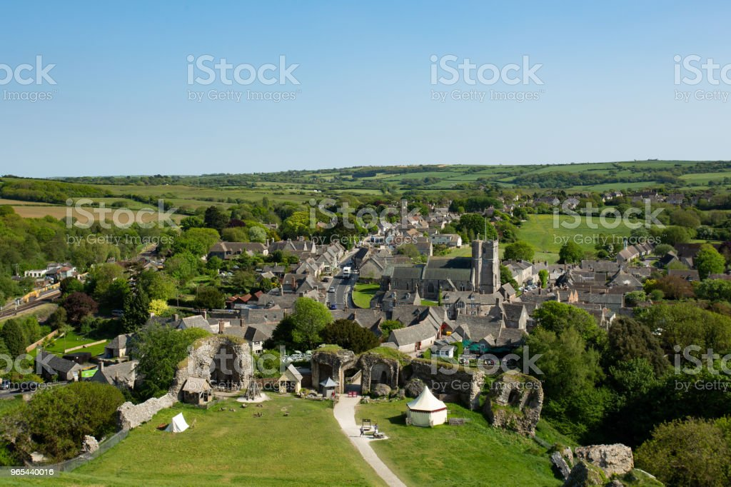 Aerial photograph of Corfe Castle village in Dorset zbiór zdjęć royalty-free