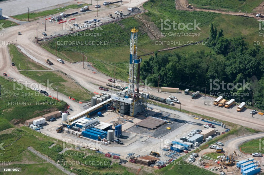Aerial photograph of gas well production Marcellus Shale formation stock photo