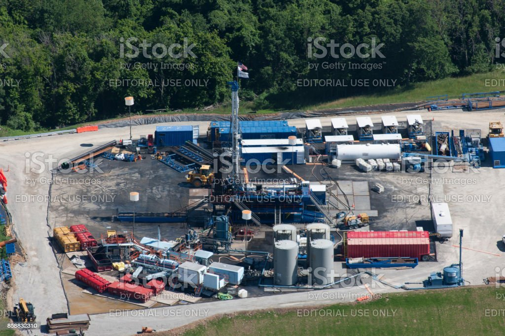 Aerial photograph of gas well production Marcellus Shale stock photo