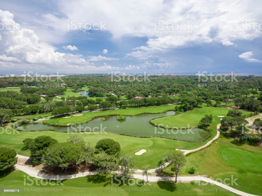 Aerial photograph of golf course in antalya belek stock photo