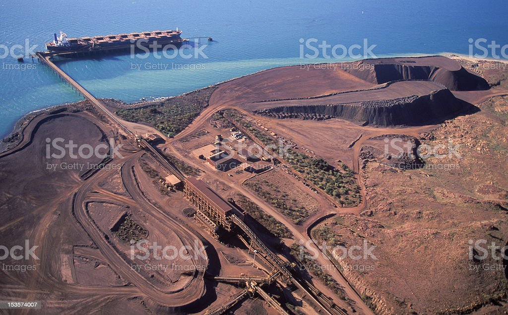 Aerial photograph of iron ore field on the water stock photo