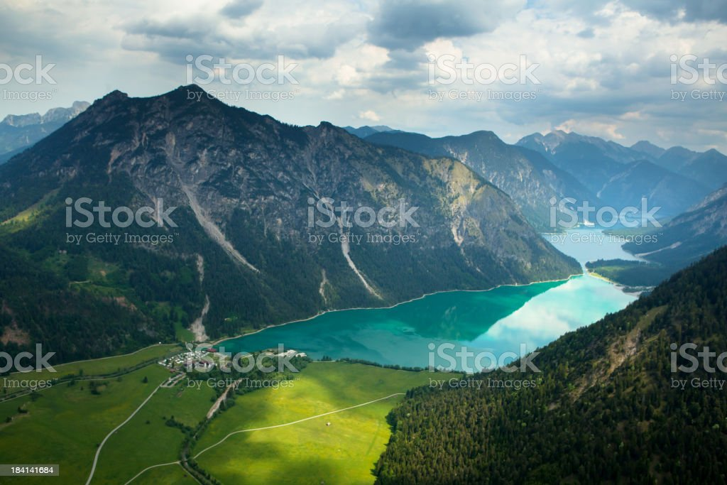 aerial photograph of lake plansee, tirol, austria, alps stock photo