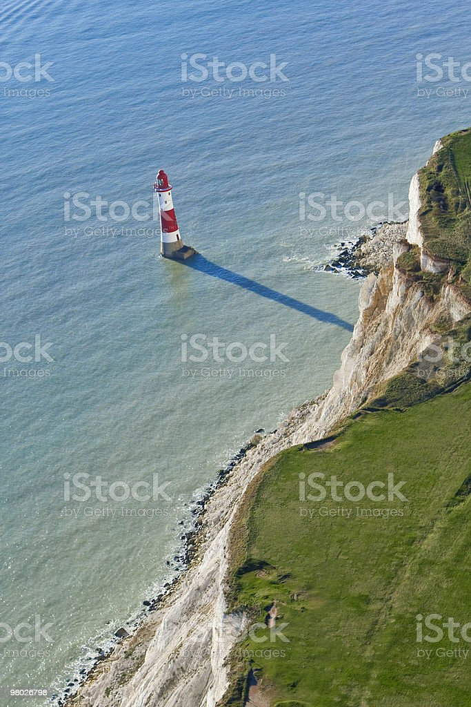 Aerial Photograph of Lighthouse at Beachy Head, East Sussex, England royalty-free stock photo