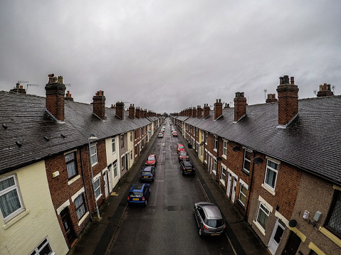Aerial photograph of Oldfield Street in Fenton, one of Stoke on Trents poorer areas, Terrace housing, poverty and urban decline,