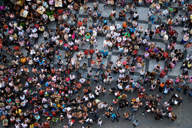 Aerial photograph of people gathered in a square stock photo