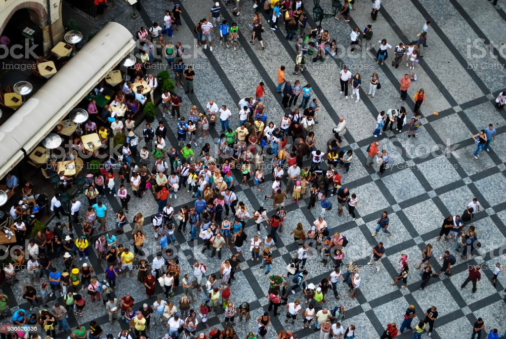 Aerial Photograph Of People Gathered In A Square Royalty Free Stock Photo