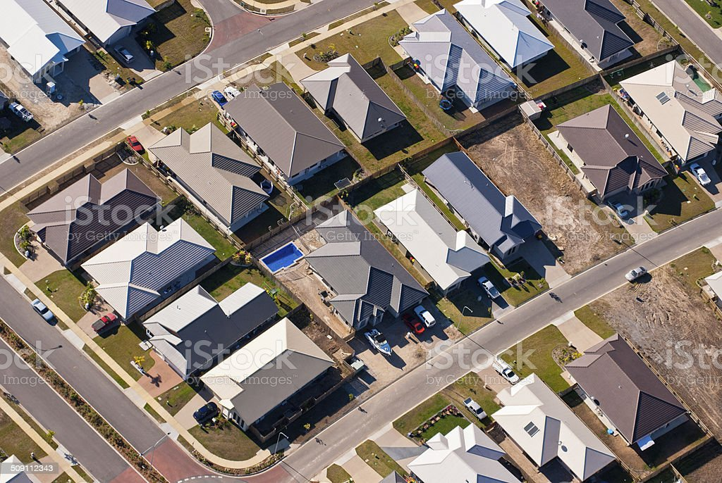 Aerial photograph of suburban housing stock photo
