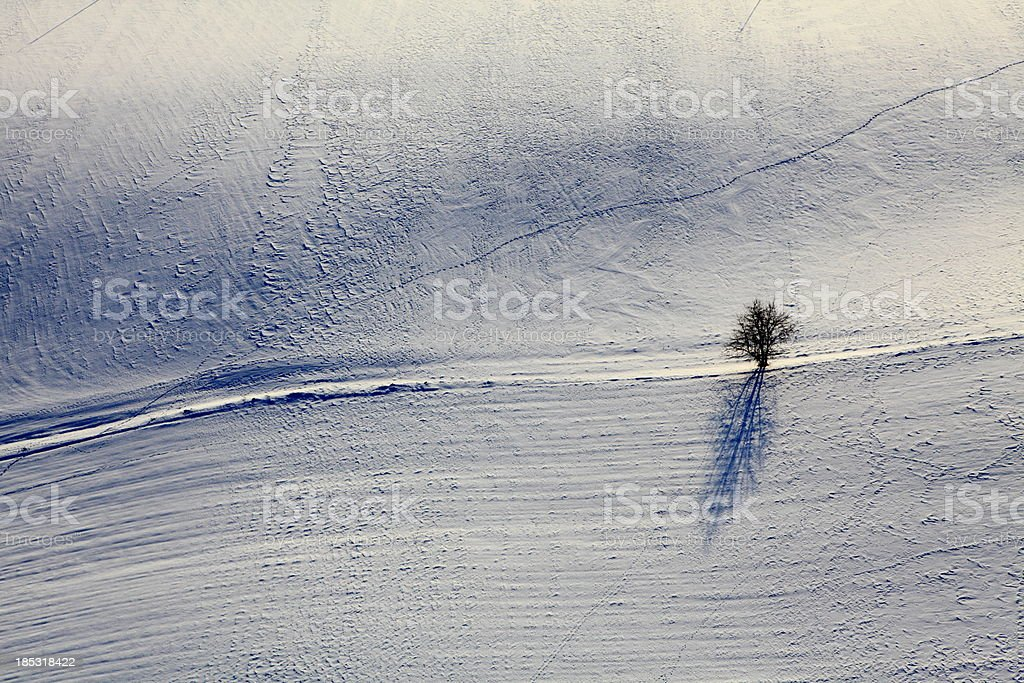 Aerial photograph of the fields in winter stock photo