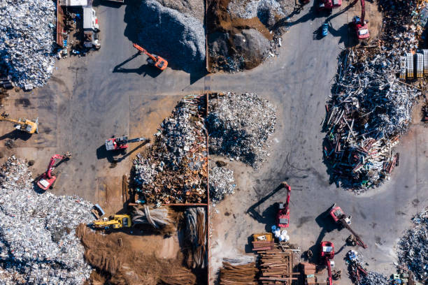Aerial photograph of waste disposal site. stock photo