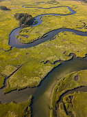 This is an aerial photograph of wetland estuary in Massachusetts, New England, USA.