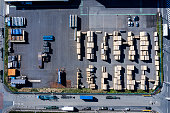 Aerial photograph of lumber storage
