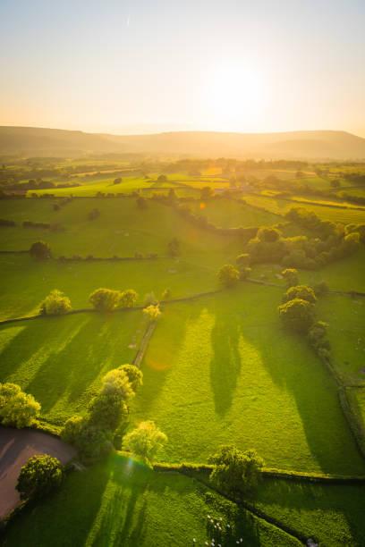 Aerial photograph over green farm pasture golden sunlight on mountain stock photo