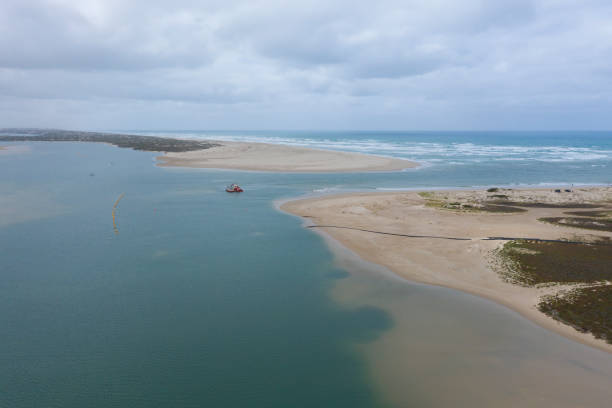 Aerial photograph the mouth of the River Murray near Goolwa in South Australia stock photo