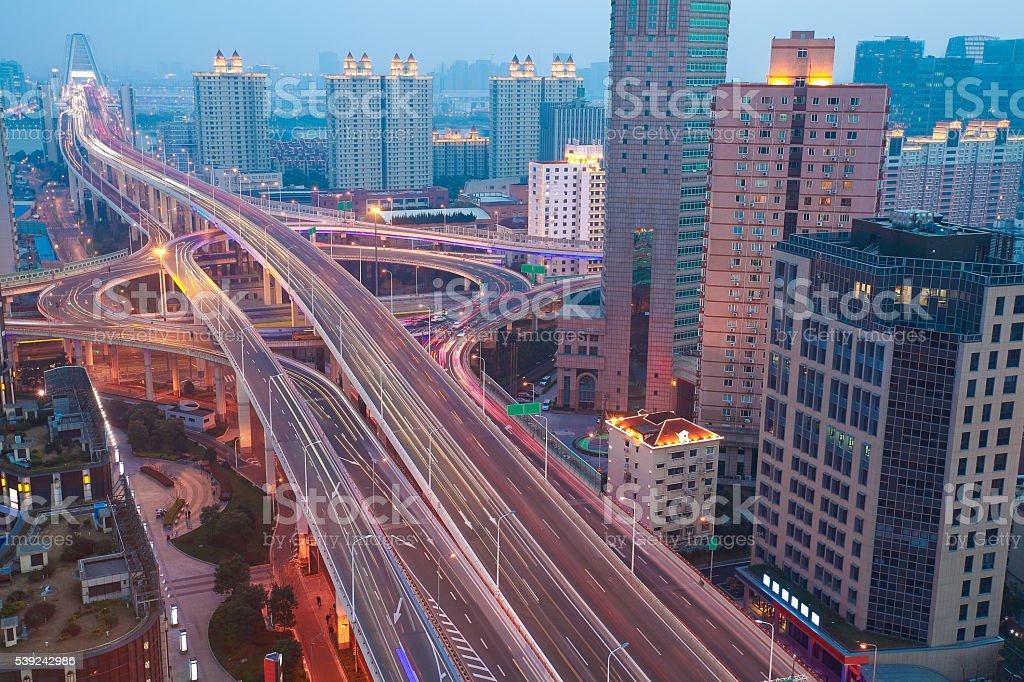 Aerial photography at city elevated bridge of night royalty-free stock photo