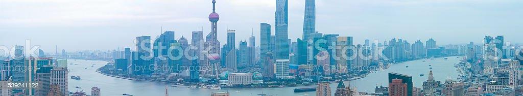 Fotografía aérea en la Federación de Shangai Horizonte de panorama foto de stock libre de derechos