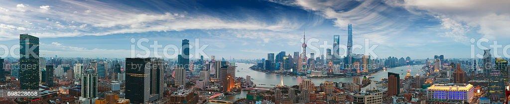 Fotografia aérea em Shanghai bund, panorama do horizonte de foto royalty-free