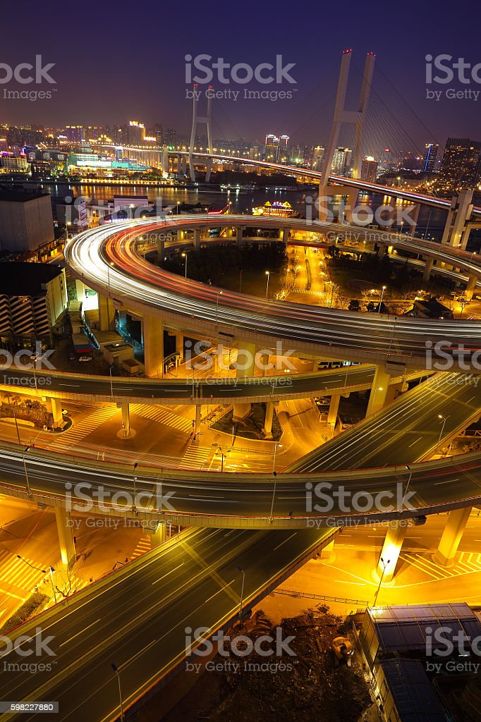 Aerial photography at Shanghai viaduct overpass bridge of night scene foto royalty-free