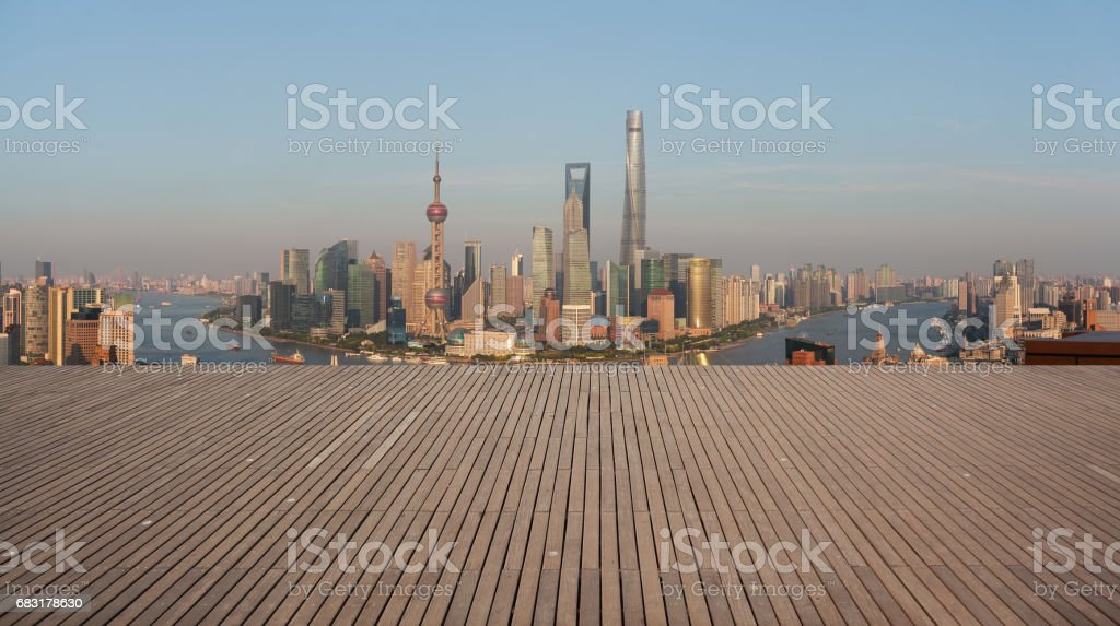 Aerial photography bird view at Empty wood floor with city landmark buildings background at Shanghai bund panorama Skyline royalty-free 스톡 사진