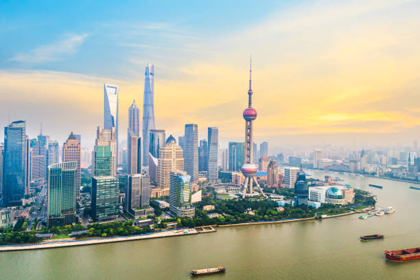 Aerial photography bird view at Shanghai bund Skyline Aerial photography bird view at Shanghai bund Skyline of dusk huangpu river stock pictures, royalty-free photos & images