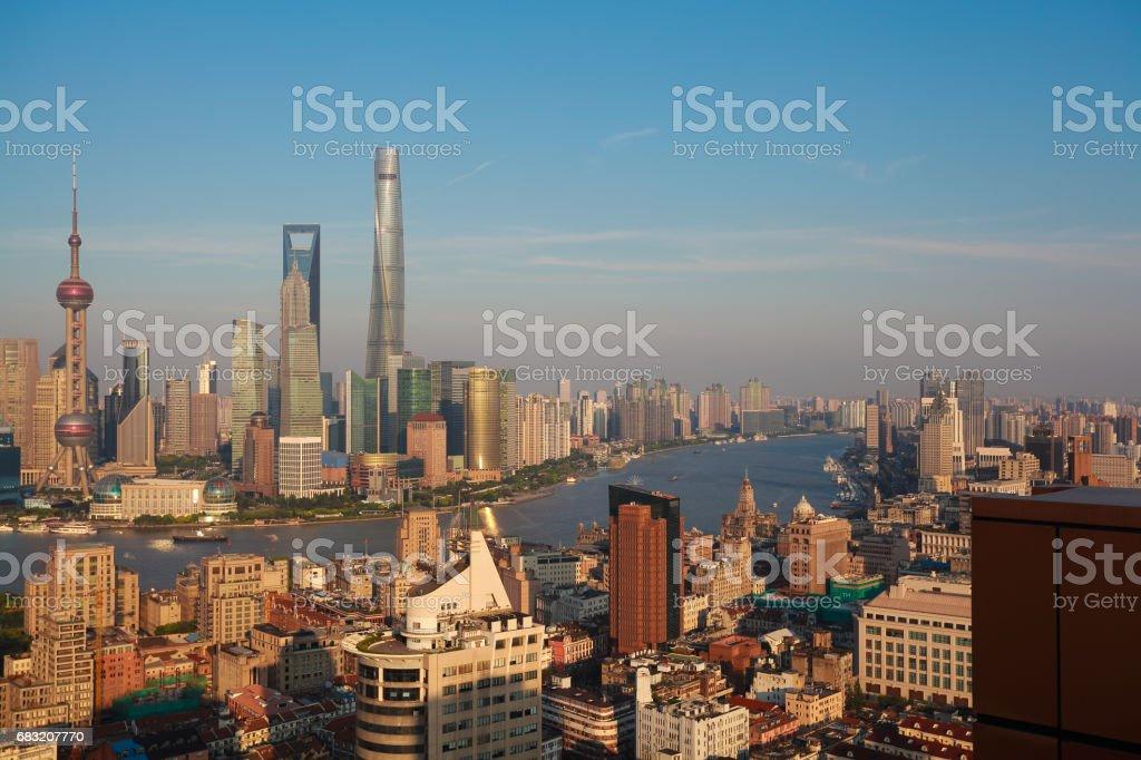 Aerial photography bird view city landmark buildings background at Shanghai bund Skyline royalty-free 스톡 사진