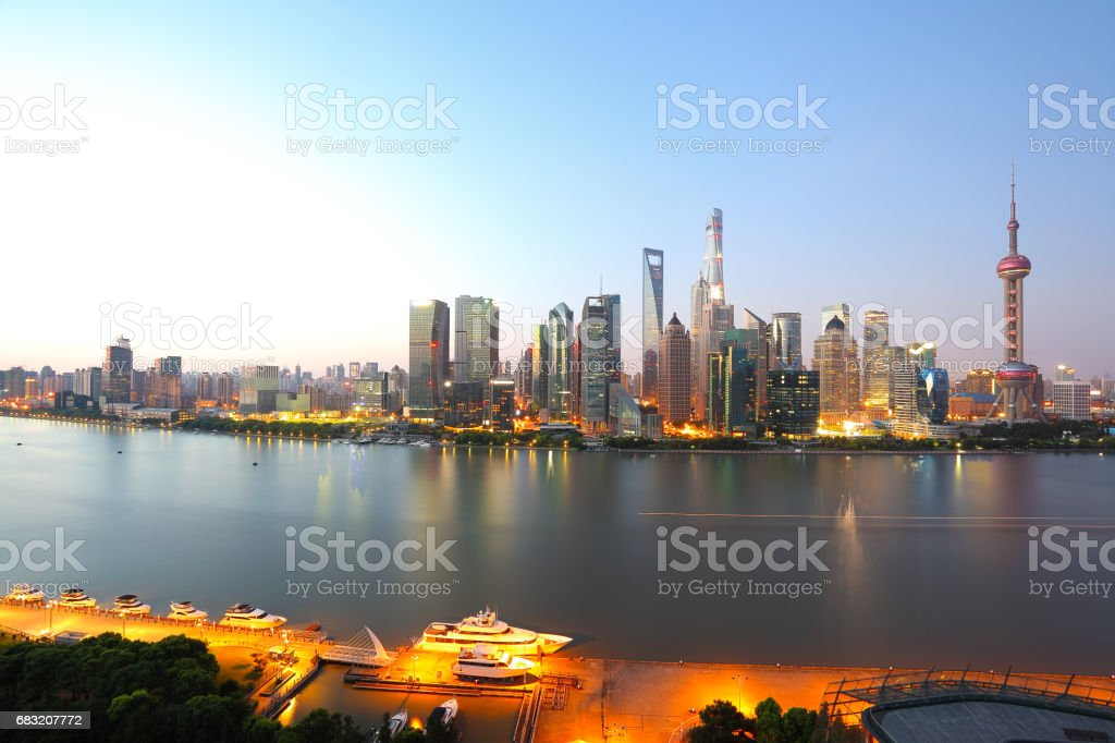 Aerial photography bird view city landmark buildings background at Shanghai bund Skyline 免版稅 stock photo
