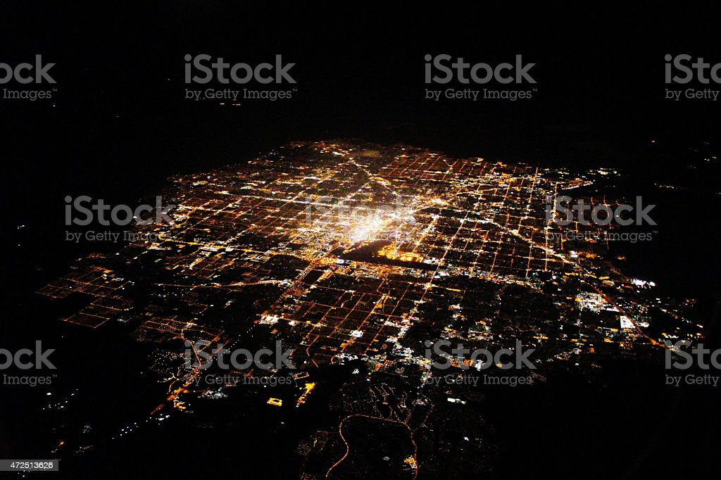 Aerial photography - Las Vagas at night stock photo