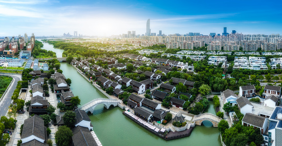 Aerial photography of ancient buildings in Xietang Old Street, Suzhou