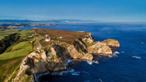 Aerial Photography of Cabo de Peñas. Asturias Spain. Fotografía Aérea del Cabo de Peñas con el faro y acantilados. Asturias España. headland stock pictures, royalty-free photos & images