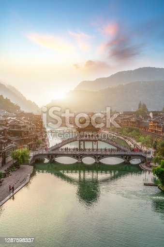 Aerial photography of Fenghuang ancient city