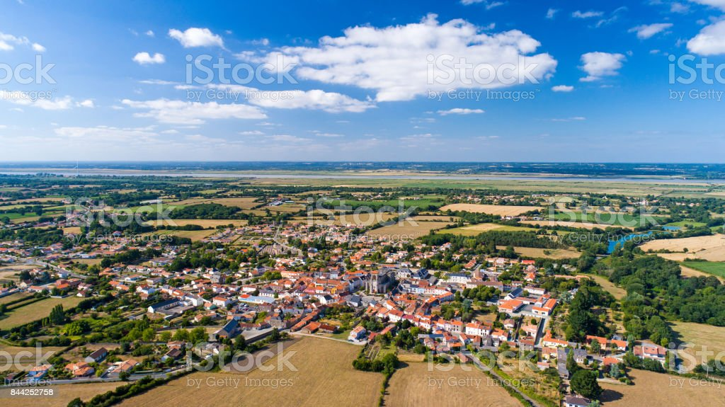 Aerial photography of Frossay village stock photo
