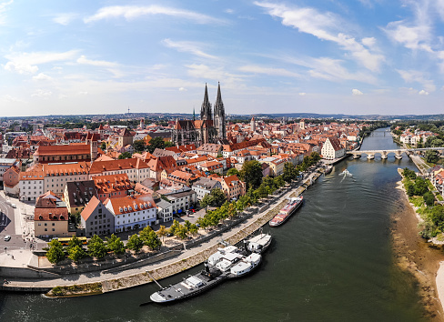 Aerial photography of Regensburg city, Germany. Danube river, architecture, Regensburg Cathedral and Stone Bridge