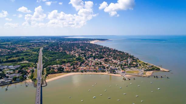 aerial photography of saint brevin les pins - estuário imagens e fotografias de stock