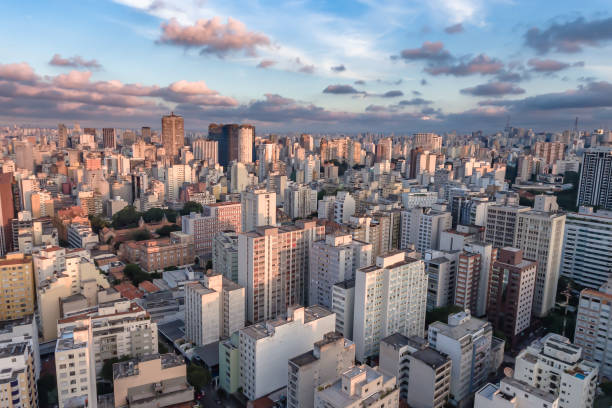 Aerial photography of the central region of São Paulo during sunset stock photo