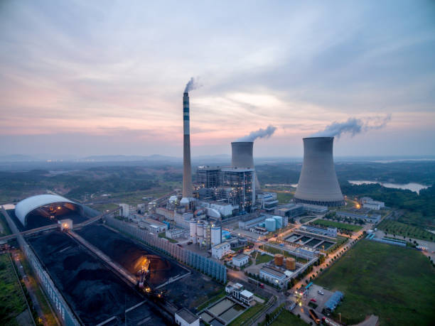 Luftaufnahmen von Wärmekraftwerken. – Foto