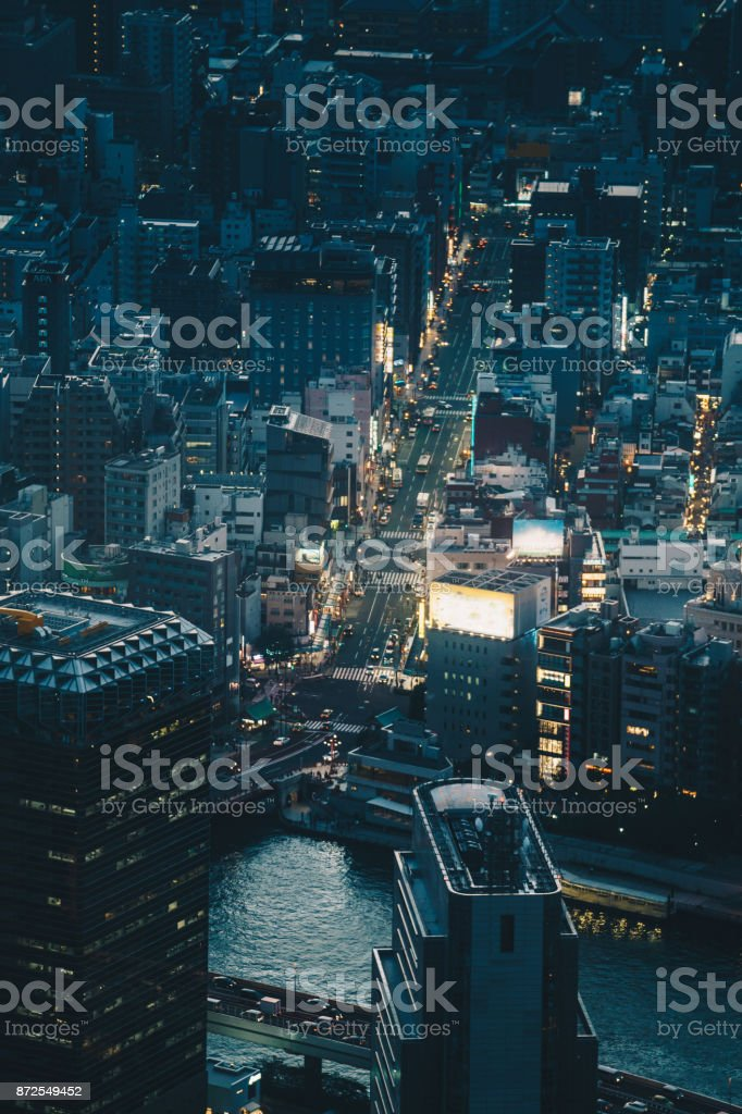 Aerial photography of Tokyo, Japan stock photo