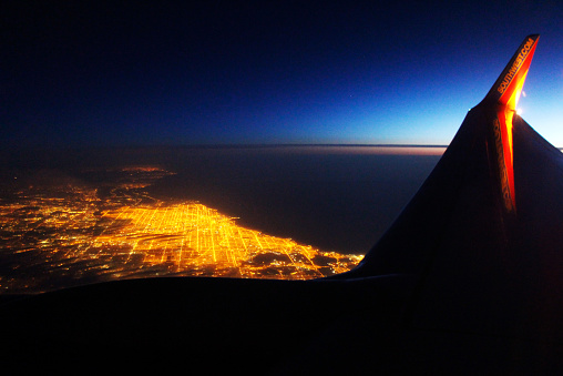 Aerial photography on Southwest Airlines: 38000 ft above Chicago