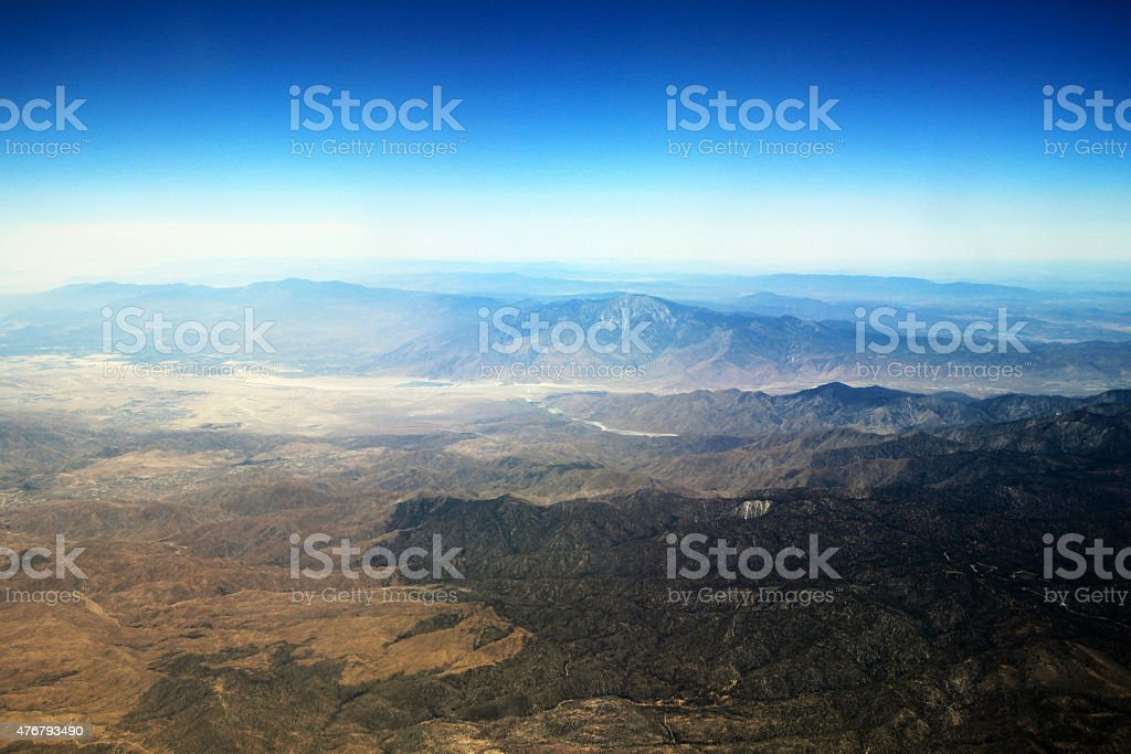 Aerial photography - Palm Springs, CA and Morongo Valley, CA stock photo