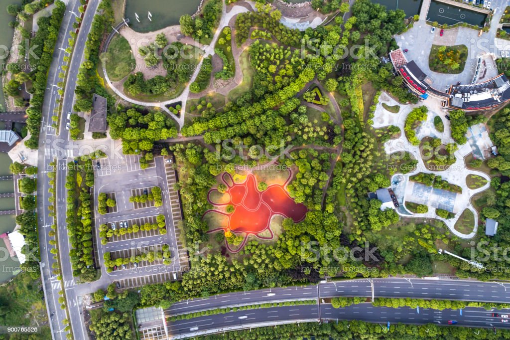 Aerial photography park stock photo